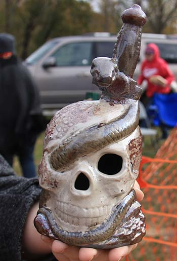 Snake Skeleton Head using Raku Firing