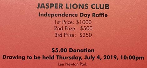 Raffle Drawing to win Cash!  $5 per ticket - look for tent at Lee Newton Park on July 4th