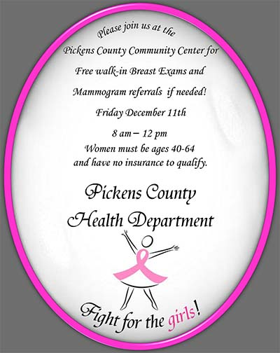 Another FREE Walk-In Breast Exam Day in Jasper!