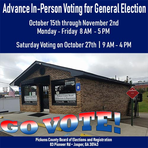 Advance In-Person Voting for the General Election Through November 2nd