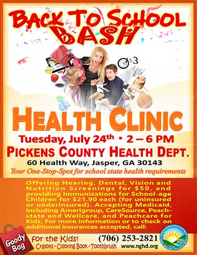 Back To School Bash Health Clinic on July 24