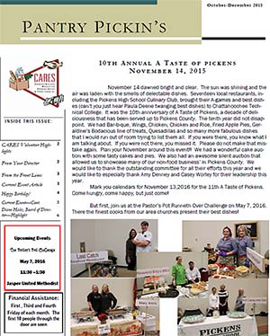 CARES Pantry Pickin's October-December 2015 Newsletter