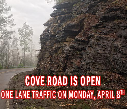Cove Road is OPEN after Rockslide