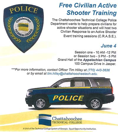 Chattahoochee Tech Police to Offer Active Shooter Response Training