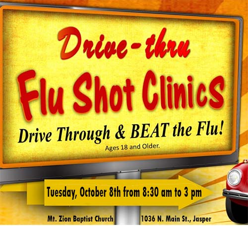 Drive-thru Flu Shot Clinic Happening in Jasper Tuesday, Oct. 8th