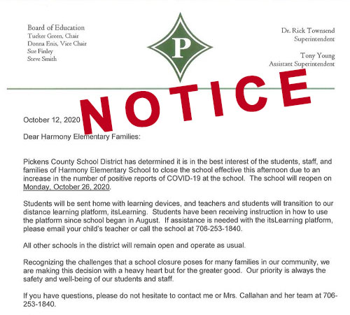 Harmony Elementary School Closes After Two Positive COVID-19 Cases