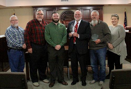 Jasper City Council December 2019 L-R:  John Foust, Sonny Proctor, Kirk Raffield, Mayor John Weaver, Tony Fountain and Anne Sneve