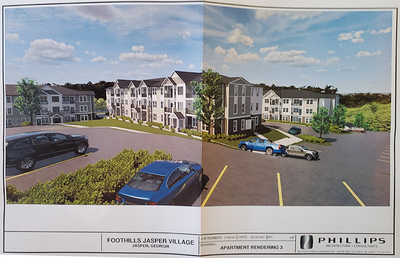 Apartment Rendering presented with the PUD rezone. (Item B)