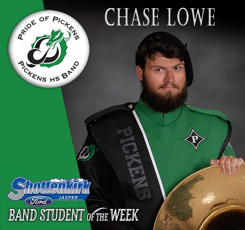 Chase Lowe Named PHS Band Student of the Week