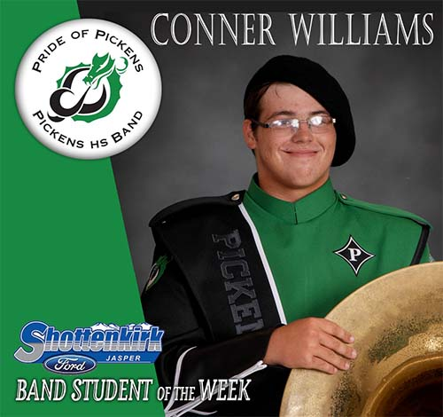 Conner Williams Named PHS Band Student of the Week