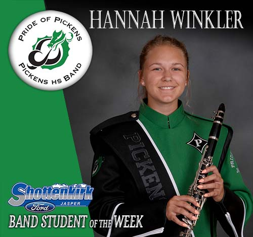 Hannah Winkler Named PHS Band Student of the Week