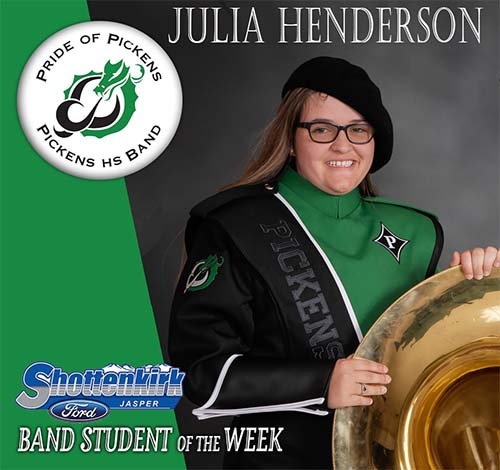 Julia Henderson Named PHS Band Student of the Week