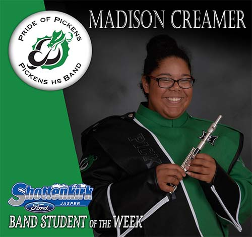 Madison Creamer Named PHS Band Student of the Week