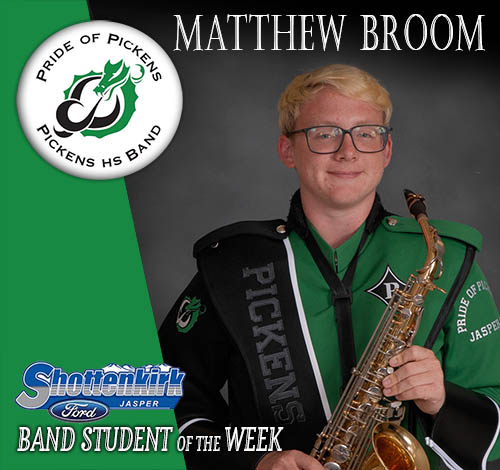 Matthew Broom Named PHS Band Student of the Week