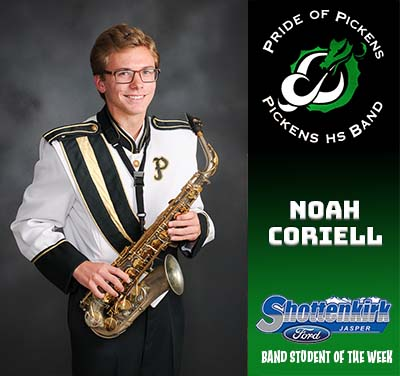 Noah Coriell Named PHS Band Student of the Week