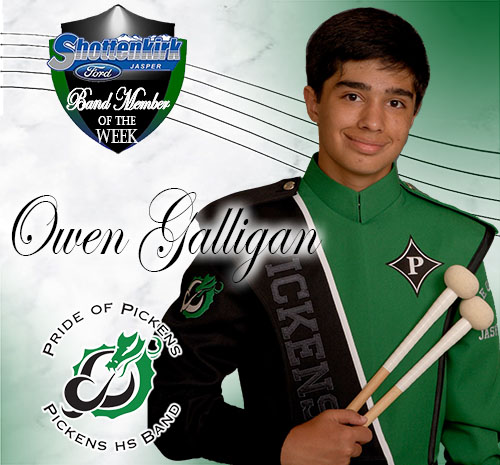 Owen Galligan Named PHS Band Student of the Week