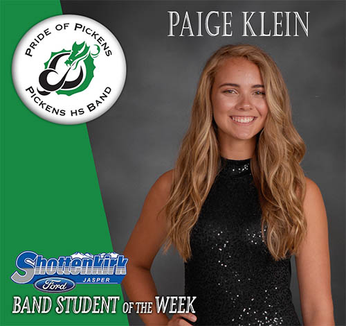 Paige Klein Named PHS Band Student of the Weekd