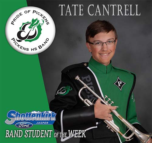 Tate Cantrell Named PHS Band Student of the Week