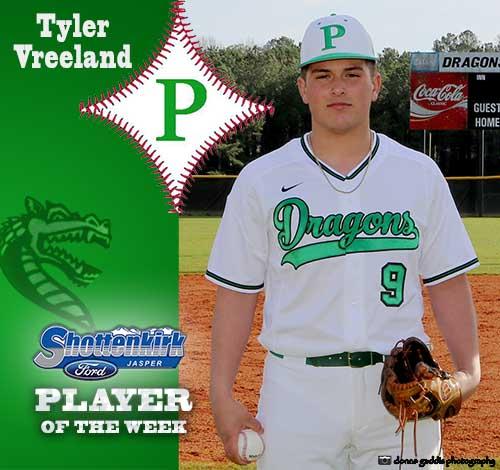 Tyler Vreeland Named PHS Baseball Player of the Week