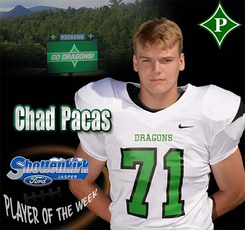 Chad Pacas Named PHS Football Player of the Week