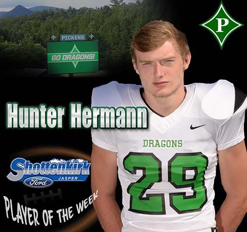 Hunter Hermann Named PHS Football Player of the Week