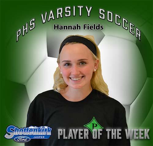 Hannah Fields Named PHS Girls Soccer Player of the Week