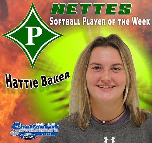 Hattie Baker Named PHS Nettes Softball Player of the Week