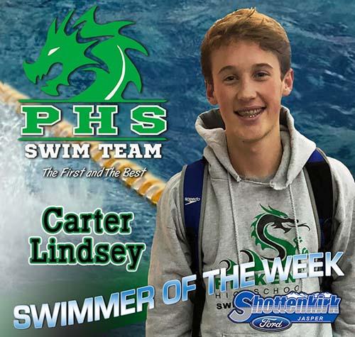 Carter Lindsey Named PHS Boys Swimmer of the Week