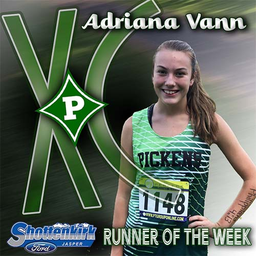 Adriana, a sophomore, was the only PHS girl to run in the Varsity.