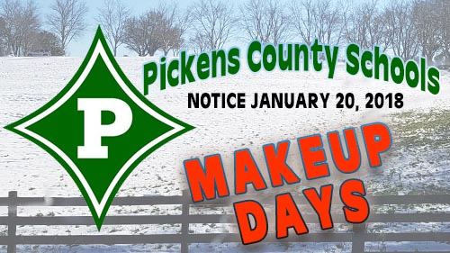 Three Makeup Days For Pickens County Schools