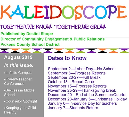Pickens County Schools KALEIDOSCOPE September 2019