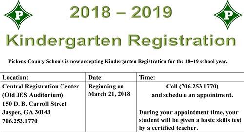 Pickens County Schools Kindergarten Registration Begins