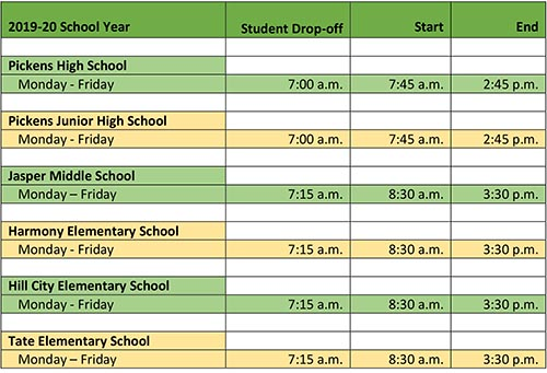 Start/End Times for Pickens County Schools 2019-2020
