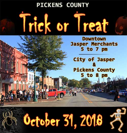 Trick or Treat Times for Pickens County