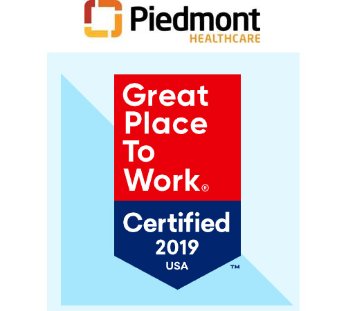 Piedmont Healthcare Achieves Certification as a Great Place to Work in 2019