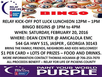 Relay For Life of Pickens County  Kick-Off and 5th Annual BINGO Fundraiser