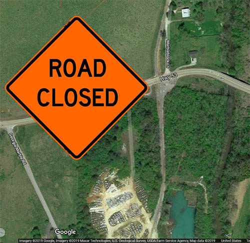 Traffic on Highway 53 in Tate to be Detoured This Weekend for Railroad Crossing Maintenance