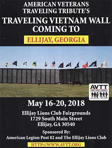 Vietnam Traveling Wall to Visit Ellijay